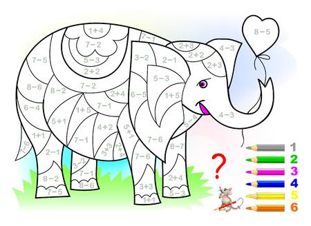 Strona edukacyjna z ćwiczeniami dla dzieci na temat dodawania i odejmowania. Trzeba rozwiązać przykłady i pomalować słonia na odpowiednie kolory. Rozwijanie umiejętności liczenia. Grafika wektorowa.
