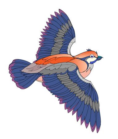 Fantasy illustration of flying bird on white background. Hand-drawn vector image.