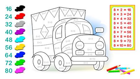 Ficha con ejercicios para niños con multiplicación por ocho. Necesita resolver ejemplos y pintar el camión con colores relevantes. Imagen de dibujos animados de vector.