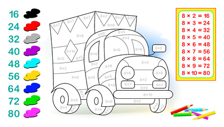 Worksheet with exercises for children with multiplication by eight. Need to solve examples and paint the lorry in relevant colors. Vector cartoon image.