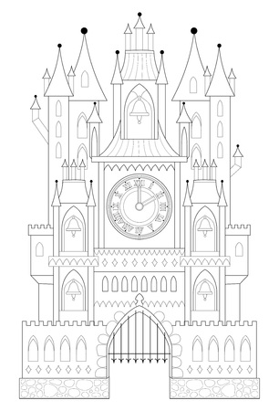 Black and white page for coloring. Illustration of fantastic medieval castle from a fairy tale with towers, gates and clock. Worksheet for children and adults. Vector image. Standard-Bild - 108329773
