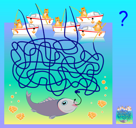 Logic puzzle game with labyrinth for children and adults. Which cat has caught the fish? Vector cartoon image.