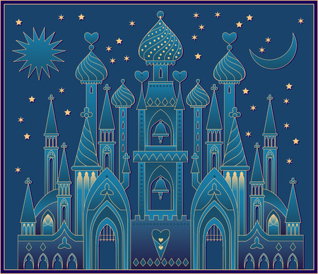 Illustration of a fantasy oriental castle eastern fairy tale. Vector cartoon image.