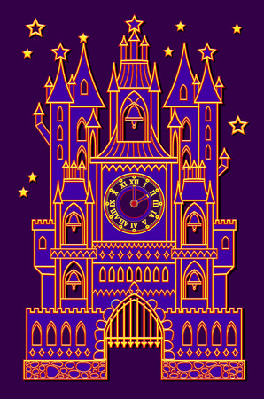 Illustration of fantasy medieval palace with bell towers from fairy tale. Vector cartoon image. Standard-Bild - 108329911