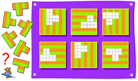 Jeu de puzzle logique pour les jeunes enfants. Besoin de trouver les bons endroits pour les détails et peindre les rayures. Image de dessin animé de vecteur.