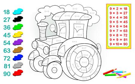 Ficha con ejercicios para niños con multiplicación por nueve. Necesita resolver ejemplos y pintar el tractor con colores relevantes. Imagen de dibujos animados de vector. Ilustración de vector