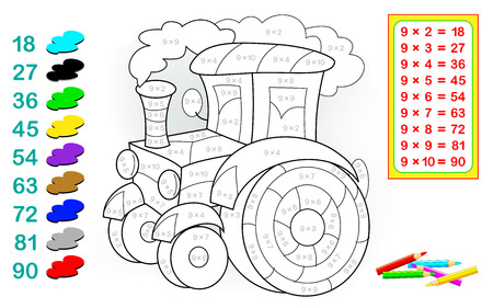 Worksheet with exercises for children with multiplication by nine. Need to solve examples and paint the tractor in relevant colors. Vector cartoon image.