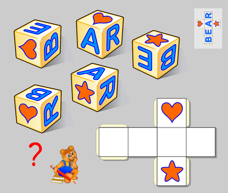 Logic puzzle game for children and adults. Need to draw the letters in white squares so the pattern corresponds all the cubes and read the word. Vector cartoon image.
