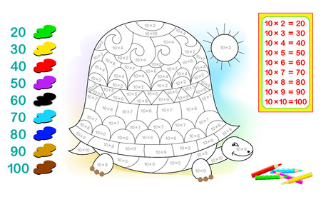 Worksheet with exercises for children with multiplication by ten. Need to solve examples and paint the turtle in relevant colors. Vector cartoon image.