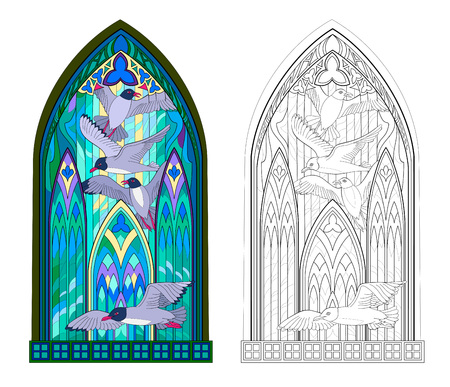 Colorful and black and white pattern of Gothic stained glass window with flying seagulls. Worksheet for children and adults. Vector image. Standard-Bild - 108329928