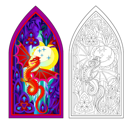 Colorful and black and white pattern of Gothic stained glass window with red dragon. Worksheet for children and adults. Vector image. Standard-Bild - 108329930