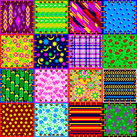 Beautiful background made from a set of cloth pieces with different ornaments for square serviette or pillow. Seamless pattern. Vector image.