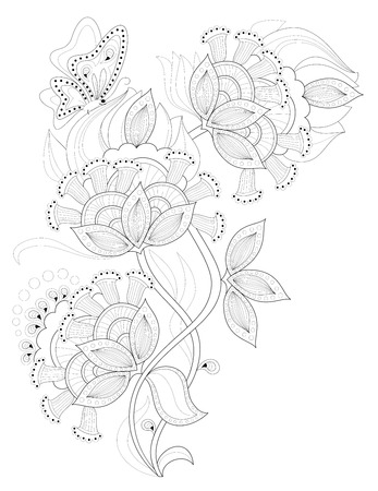 Black and white page for coloring. Fantasy drawing of beautiful fairyland flowers. Pattern for print and embroidery. Worksheet for children and adults. Vector image.