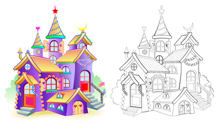 Colorful and black and white pattern for coloring. Illustration of toy fairy tale castle. Worksheet for children and adults. Vector image. Illustration