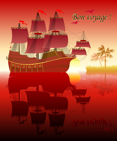 Fantasy illustration of ancient sailboat with reflection. Greeting card with Bon voyage. Poster for tourism company. Modern print. Vector cartoon image.  イラスト・ベクター素材