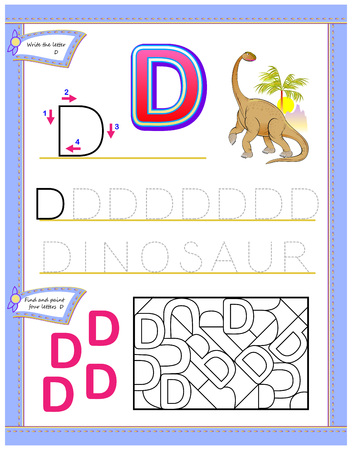 Worksheet for kids with letter D for study English alphabet. Logic puzzle game. Developing children skills for writing and reading. Vector cartoon image. Illustration