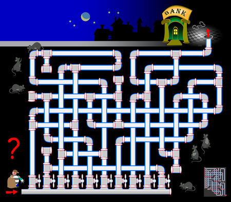 Logic puzzle game with labyrinth for children and adults. How the robber can get into the bank through a sewer pipe? Find the way. Vector cartoon image.