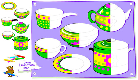 Educational page for kids. Need to paint the second parts of dishes. Developing children skills for drawing and coloring. Vector cartoon image.