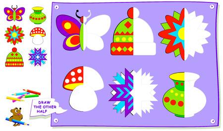 Page éducative pour les enfants. Besoin de peindre les deuxièmes parties des objets. Développer les compétences des enfants pour le dessin et la coloration. Image de dessin animé de vecteur.