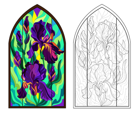 Colorful and black and white pattern of Gothic stained glass window with beautiful irises. Worksheet for coloring book for children and adults. Vector image.