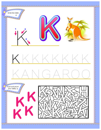 Worksheet for kids with letter K for study English alphabet. Logic puzzle game. Developing children skills for writing and reading. Vector cartoon image.