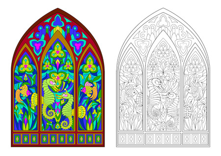 Colorful and black and white pattern of Gothic stained glass window with beautiful underwater life. Worksheet for coloring book for children and adults. Vector image. Standard-Bild - 112853670