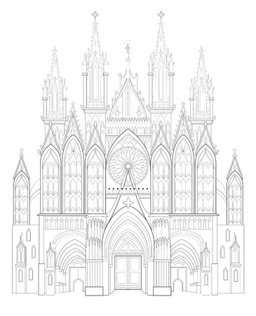 Fantasy drawing of medieval Gothic castle. Black and white page for coloring book. Worksheet for children and adults. Vector image. Standard-Bild - 112853671