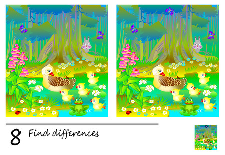 Logic puzzle game for children and adults. Need to find 8 differences. Developing skills for counting. Vector cartoon image.