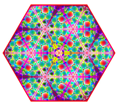 Fantasy colorful kaleidoscope ornament. Geometric vector image. Illustration