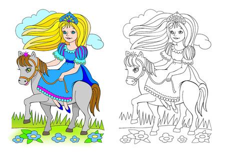 Ilustración de fantasía de linda princesita a caballo. Página colorida y en blanco y negro para colorear libro. Hoja de trabajo para niños y adultos. Imagen de dibujos animados de vector.