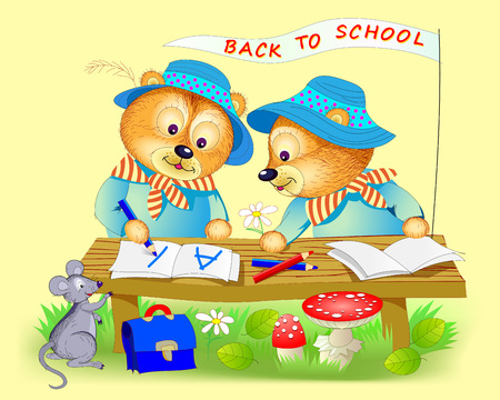 Fantasy illustration of cute little bears learning to read and to write. Back to school. Cover for children school textbook. Hand-drawn vector cartoon image.