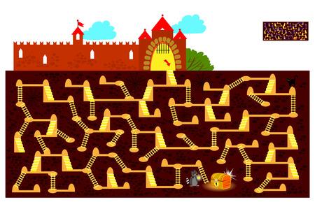 Logiczna gra logiczna z labiryntem dla dzieci i dorosłych. Znajdź drogę pod ziemią do ukrytej skrzyni skarbów i narysuj linię. Wektor kreskówka obraz.