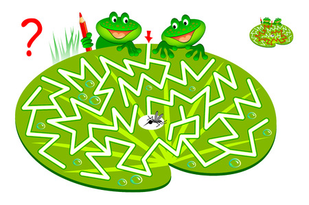 Logic puzzle game with labyrinth for children and adults. Help two hungry frogs find way to mosquito and draw the line. Vector cartoon image.