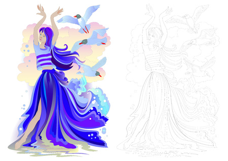 Fantasy drawing of beautiful mermaid dancing with seagulls. Colorful and black and white page for coloring book. Worksheet for children and adults. Vector cartoon image.