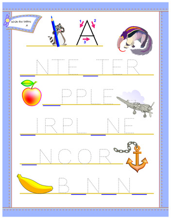 Tracing letter A for study English alphabet. Worksheet for kids. Logic puzzle game. Education page for kindergarten. Developing children skills for writing and reading. Vector cartoon image.