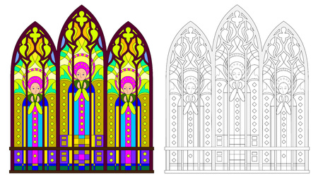 Colorful and black and white pattern of Gothic stained glass window with portraits of saints. Worksheet for coloring book for children and adults. Vector image. Standard-Bild - 112853944