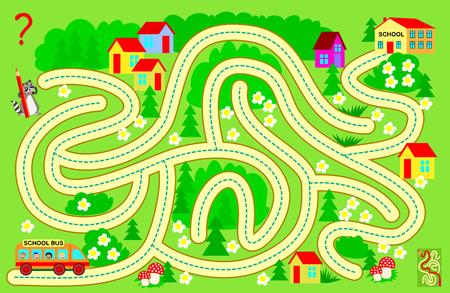 Juego de rompecabezas de lógica con laberinto para niños y adultos. Ayude al autobús escolar a llevar a los niños a la escuela. Encuentra el camino y dibuja la línea. Imagen de dibujos animados de vector.