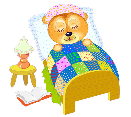 Illustration for baby book. Little teddy bear sleeping at night in his bed after reading. vector cartoon image. Good night. Hand-drawn vector cartoon image. Vectores