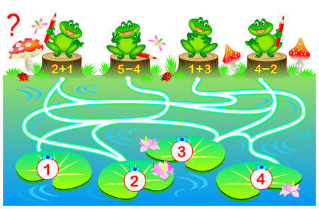 Educational page with exercises for children on addition and subtraction. Solve examples and draw the way from each frog till correct water lily leaf. Vector cartoon image.