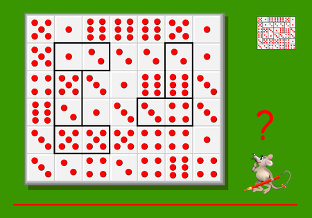 Logic puzzle game for children and adults. Need divide the rectangles by lines so that all dominoes are different. Back to school. Developing skills of counting. Vector image. Banque d'images - 116441258