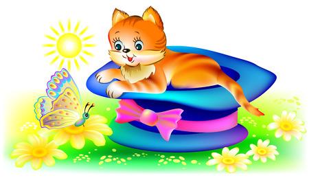 Illustration de chat regardant papillon, image de dessin animé de vecteur.