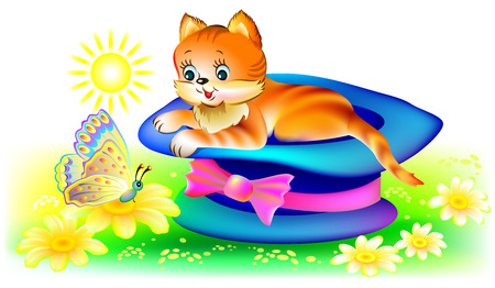 Illustration of cat looking at butterfly, vector cartoon image. 版權商用圖片 - 116441260