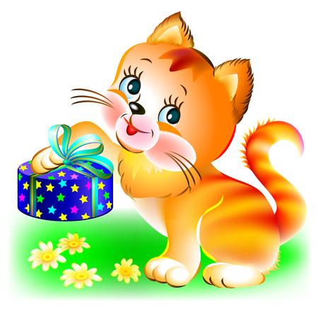 Illustration of joyful kitten holding a present, image vector cartoon.