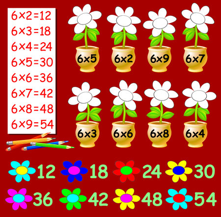 Exercise for children with multiplication by six. Need to paint the flowers in relevant color. Developing skills for counting. Vector image.