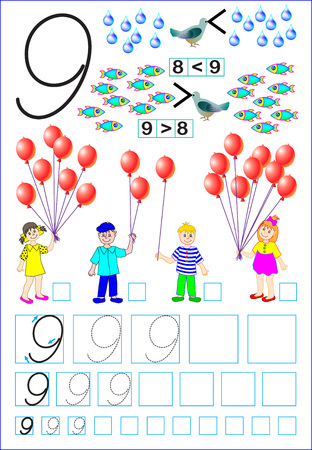 Educational page for children with number 9. Developing skills for counting and writing. Vector image.