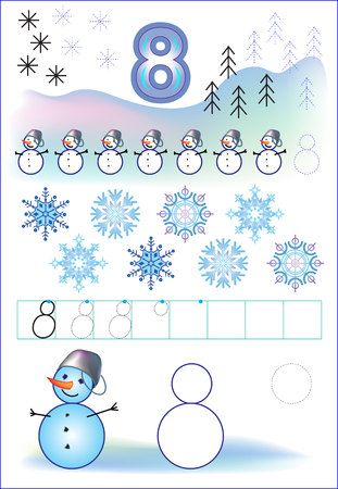 Educational page for children with number 8. Developing skills for counting and writing. Vector image.