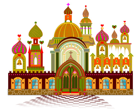 Illustration of fairyland fantasy kingdom from eastern fairy tale for baby book. Poster for travel company. Vector cartoon image.