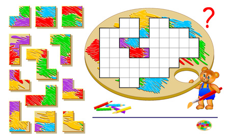 Logic puzzle game for children and adults. Need to find the places for remaining blocks and paint them correctly. Page for brainteaser book. Developing spatial thinking. Vector image.