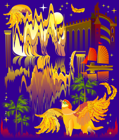 Illustration of a fantastic trip to an ancient fairy-tale country. Modern print. Poster for travel company. Vector cartoon image.
