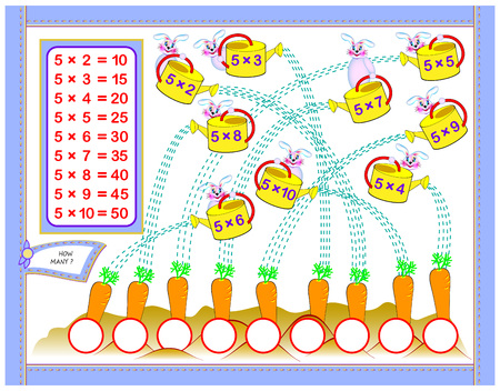 Multiplication table by 5 for kids. Write the numbers in correct circles. Educational page for mathematics baby book. Back to school. Vector cartoon image. Vector Illustration